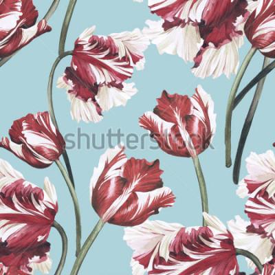 Quadro Sem costura padrão floral com tulipas, aquarela