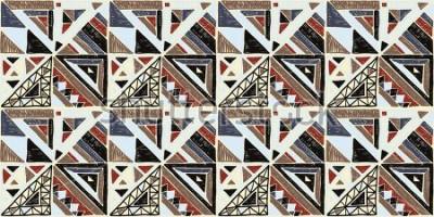 Quadro Sem costura padrão geométrico Africano. Ornamento étnico no tapete. Estilo asteca. Textura de vetor étnico tribal. Bordado em tecido. Indiano, mexicano, padrão popular. Acolchoado, patchwork, jacquard
