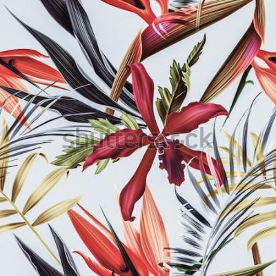 Quadro Sem costura tropical flor, planta e folha de fundo