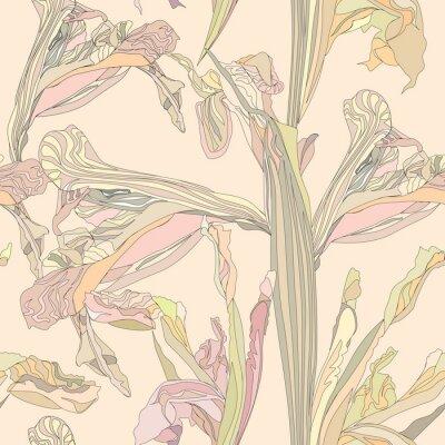 Quadro sem emenda do vetor flores suaves íris no fundo bege