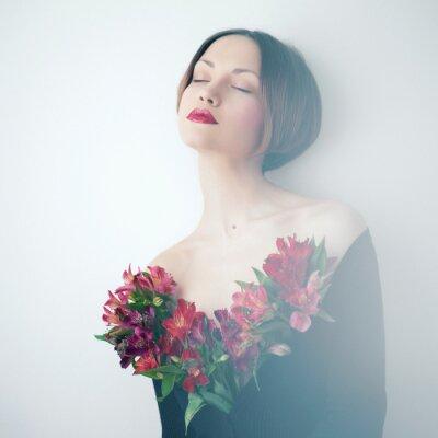 Quadro Senhora bonita com flores