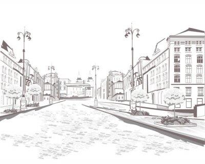 Quadro Série de pontos de vista de rua na cidade velha, esboço
