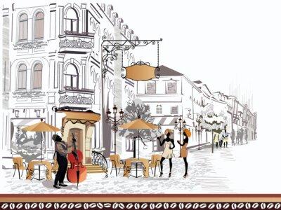Quadro Série de vista para a rua com as pessoas na cidade velha