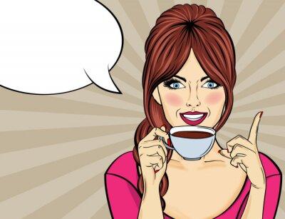 Quadro Sexy pop art mulher com uma xícara de café