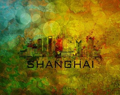 Quadro Shanghai, cidade, Skyline, grunge, fundo, Ilustração