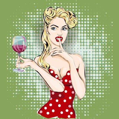 Quadro Shhh pop art mulher rosto com dedo sobre os lábios e copo de vinho