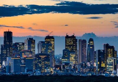 Quadro Silhueta bonita de Tokyo Skyline no crepúsculo