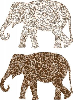 Quadro silhueta de um elefante nos padrões indianos mehendi