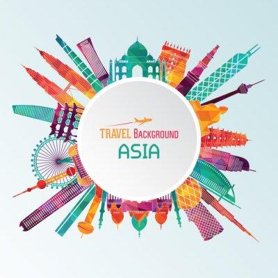 Quadro Silhueta detalhada de Ásia. Vector a ilustração