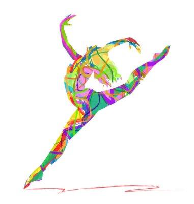 Quadro silhueta di bailarina Composta da colori