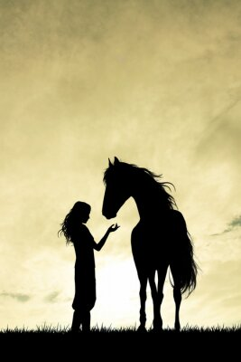 Quadro Silhueta menina e cavalo