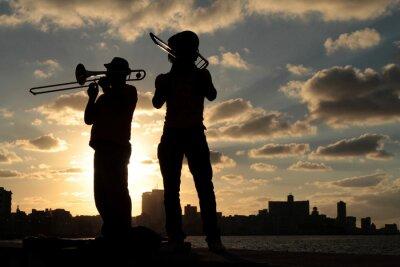Quadro Silhuetas de musiciens devant la ville de La Havane