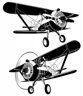 Quadro Silhuetas retro de biplano. Formato vetorial EPS-8 disponível separado por grupos e camadas para facilitar a edição