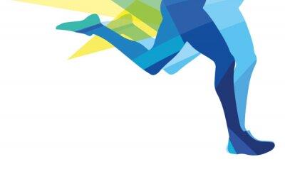 Quadro Silueta, homem, executando, pernas, transparente, sobreposição, cores