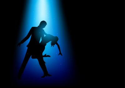 Quadro Silueta, ilustração, par, dançar