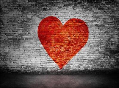 Quadro Símbolo do amor pintado na parede de tijolo obscura