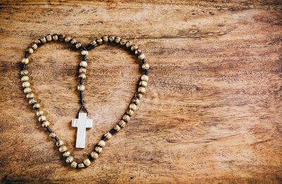 Quadro Simple Cross Inside Heart Shape - Rustic