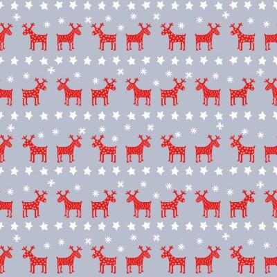 Quadro Simples padrão sem emenda retro do Natal - renas de Natal, estrelas e flocos de neve. Fundo do ano novo feliz. Projeto do vetor para férias de inverno no fundo cinzento.