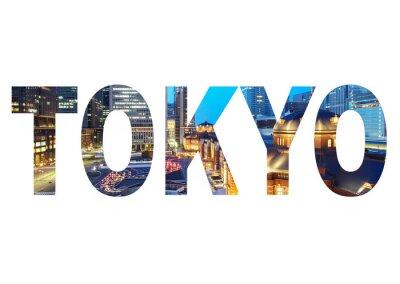 Quadro Sinal do nome da cidade de Tokyo com a foto no fundo. Isolado no fundo branco ..