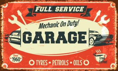 Quadro Sinal do serviço de carro retro. Ilustração do vetor.