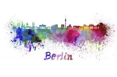 Quadro Skyline de Berlim em aquarela