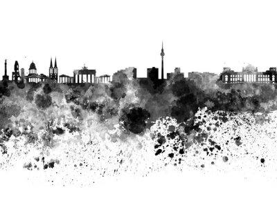 Quadro Skyline de Berlim na aguarela preta