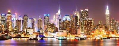 Quadro Skyline de Manhattan na noite.