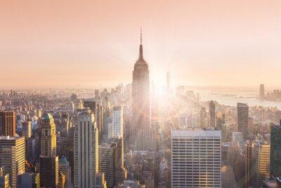 Quadro Skyline de New York City Manhattan no por do sol.