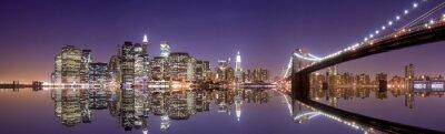 Quadro Skyline de New York e de reflexão à noite