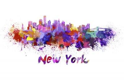 Quadro Skyline de New York em aquarela