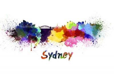 Quadro Skyline de Sydney em aquarela