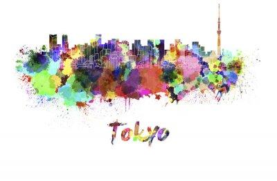 Quadro Skyline de Tokyo V2 na aguarela