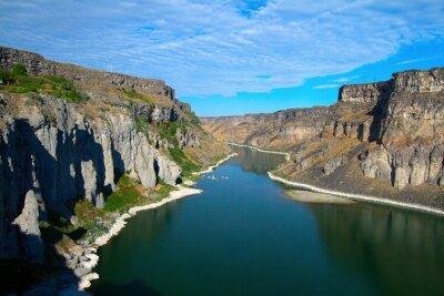 Quadro Snake River e sua garganta como visto do Shoshone cai perto de Twin Falls, Idaho