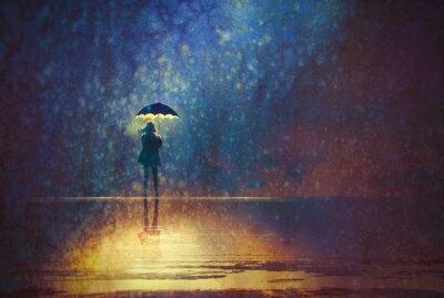 Quadro Solitário, mulher, sob, guarda-chuva, luzes, escuro, digital, pintura