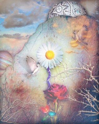 Quadro Sonhos vale com flores coloridas série