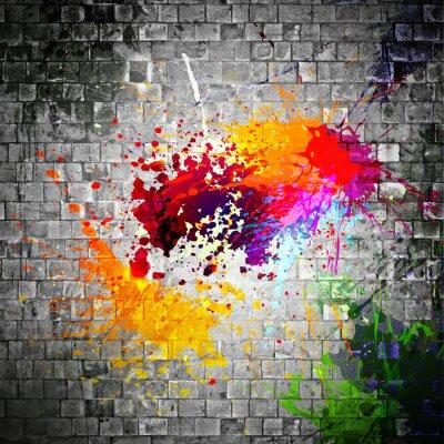 Quadro splatter tinta na parede de pedra
