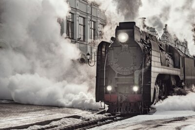 Quadro Steam train departs from Riga railway station. Moscow.