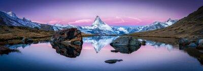 Quadro Stellisee na Suíça, com o Matterhorn no fundo Panorama