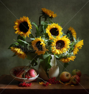 Quadro Still life with sunflowers and apples