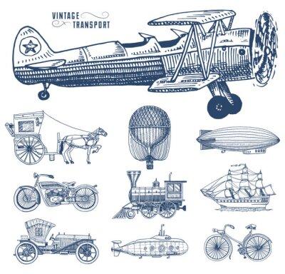 Quadro Submarino, barco e carro, moto, carruagem puxada por cavalos. Aeronave ou dirigível, balão de ar, aviões de milho, locomotiva. Gravado mão desenhada em estilo de esboço antigo, transporte de passageir