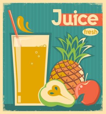 Quadro Suco de fruta fresca. Vetor cartão vintage