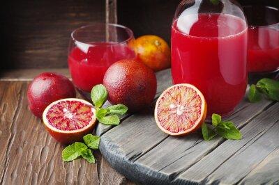 Quadro Suco delicioso com laranjas vermelhas e hortelã