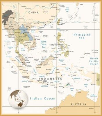 Quadro Sudeste Asiático Mapa detalhado Retro Cores