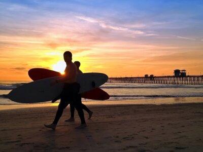 Quadro Surfers sol Oceanside Pier Praia San Diego na Califórnia EUA