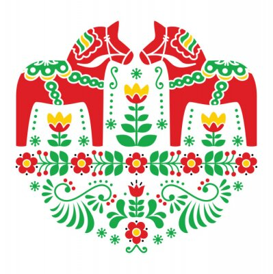 Quadro Swedish Dala ou Daleclarian cavalo floral teste padrão popular