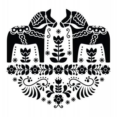 Quadro Swedish Dala ou Daleclarian teste padrão popular cavalo em preto