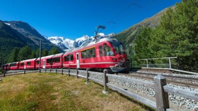 Quadro Swiss mountain train Bernina Express crossed Alps