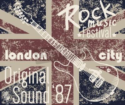 Quadro T-shirt Design de impressão, gráficos de tipografia, London Rock festival ilustração vetorial com bandeira grunge e mão desenhada esboço guitarra Badge Applique Label.