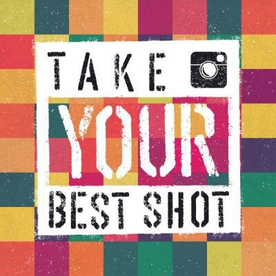 Quadro Take You poster melhor tiro. Com colorido abstrato texturizado backg