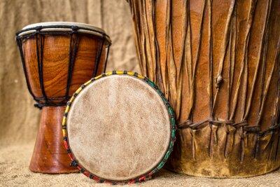 Quadro tambores artesanais djembe